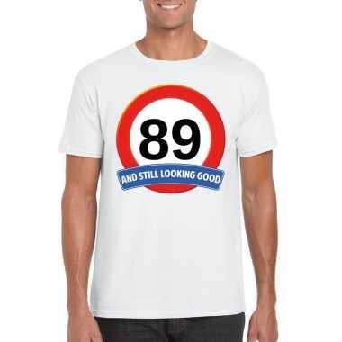 89 jaar verkeersbord t shirt wit heren