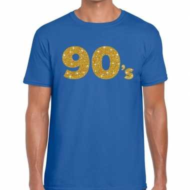 90's fun tekst t shirt blauw heren