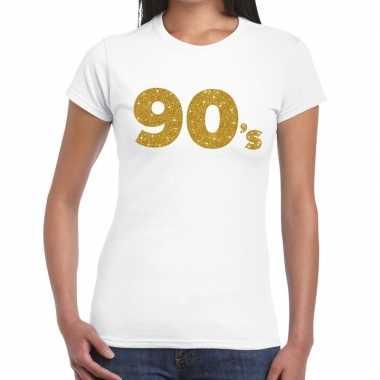 90's goud fun t shirt wit dames