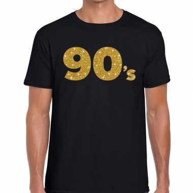 90's gouden letters fun t shirt zwart heren