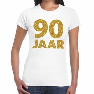 90e verjaardag cadeau t shirt wit goud dames