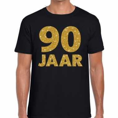 90e verjaardag cadeau t shirt zwart goud heren