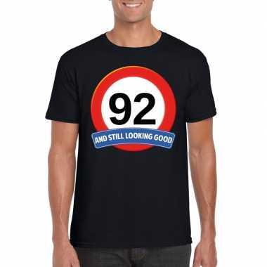 92 jaar verkeersbord t shirt zwart heren