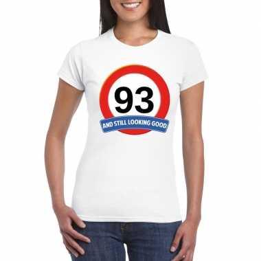 93 jaar verkeersbord t shirt wit dames