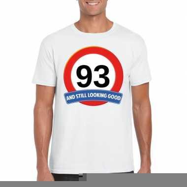 93 jaar verkeersbord t shirt wit heren