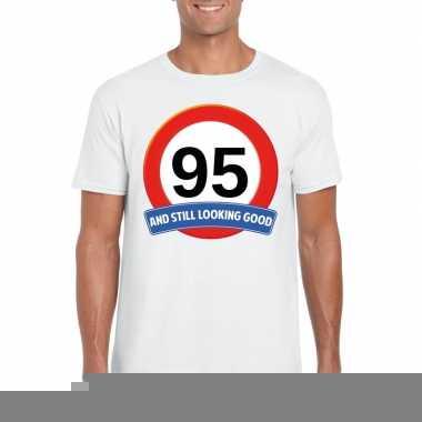 95 jaar verkeersbord t-shirt wit volwassenen