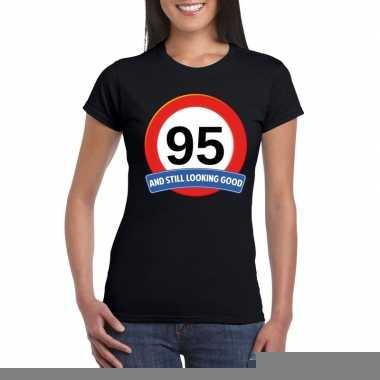 95 jaar verkeersbord t shirt zwart dames