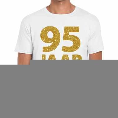 95e verjaardag cadeau t shirt wit goud heren