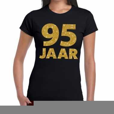 95e verjaardag cadeau t shirt zwart goud dames