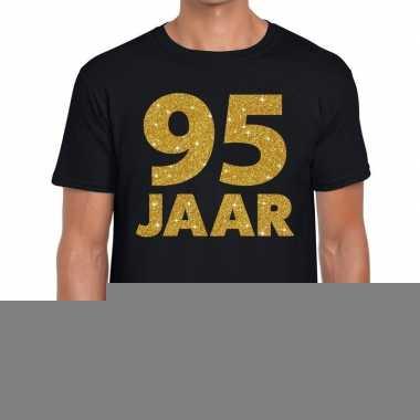 95e verjaardag cadeau t shirt zwart goud heren