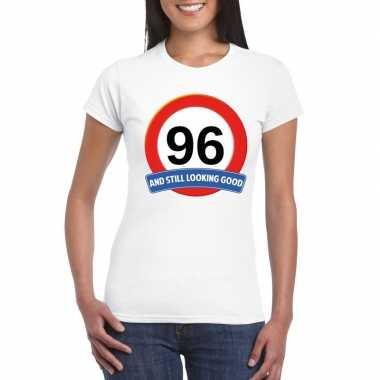 96 jaar verkeersbord t shirt wit dames