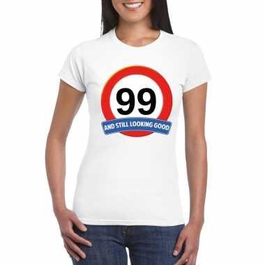 99 jaar verkeersbord t shirt wit dames