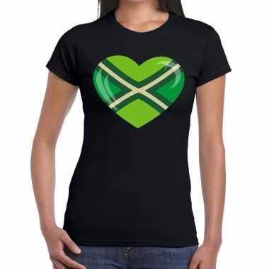 Achterhoeks t shirt hart bedrukking zwart dames