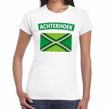 Achterhoeks t shirt vlag bedrukking wit dames