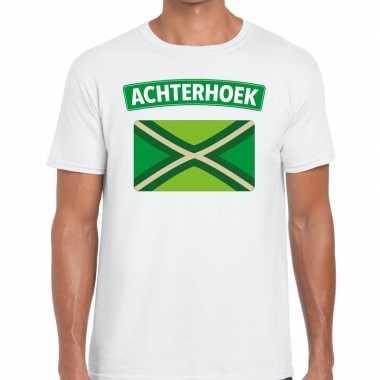 Achterhoeks t shirt vlag bedrukking wit heren