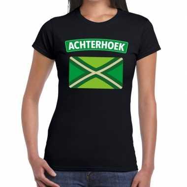 Achterhoeks t shirt vlag bedrukking zwart dames