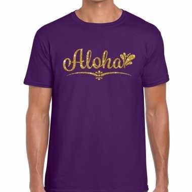 Aloha fun hawaii t shirt paars heren