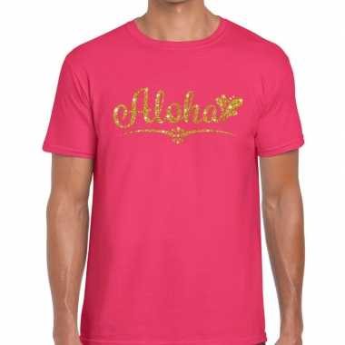 Aloha goud glitter hawaii fun t shirt roze heren