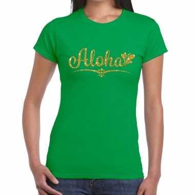 Aloha goud hawaii t shirt groen dames
