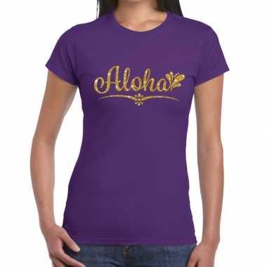 Aloha goud hawaii t shirt paars dames