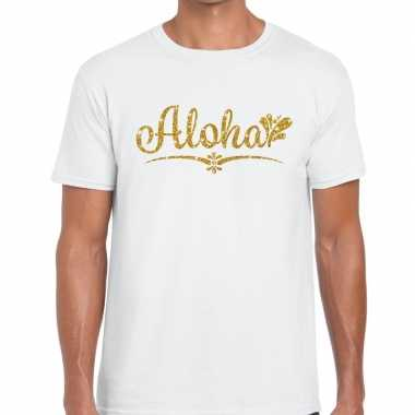 Aloha goud letters fun t shirt wit heren