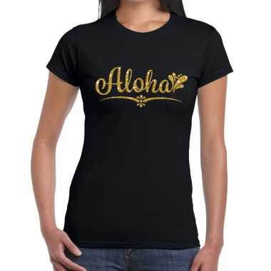Aloha gouden letters fun t shirt zwart dames