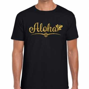 Aloha gouden letters fun t shirt zwart heren