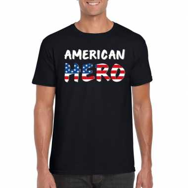 American hero fun t shirt zwart heren