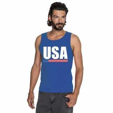Amerika supporter mouwloos shirt/ tanktop blauw heren