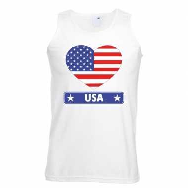 Amerika/ usa hart vlag mouwloos shirt wit heren