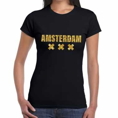 Amsterdam gouden letters fun t shirt zwart dames