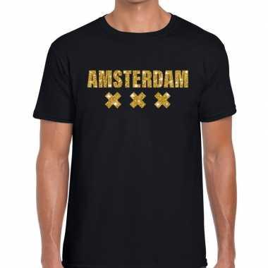 Amsterdam gouden letters fun t shirt zwart heren