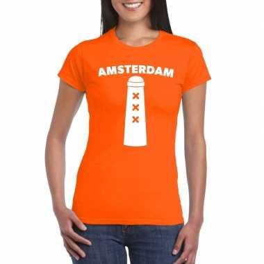 Amsterdam shirt amsterdammertje oranje dames