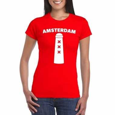 Amsterdam shirt amsterdammertje rood dames
