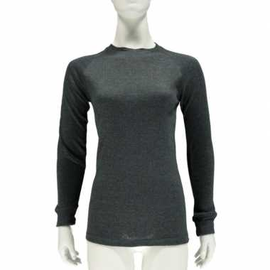Antraciet grijs thermo shirt lange mouwen dames