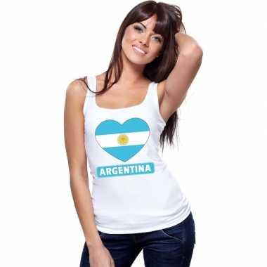 Argentinie hart vlag mouwloos shirt wit dames