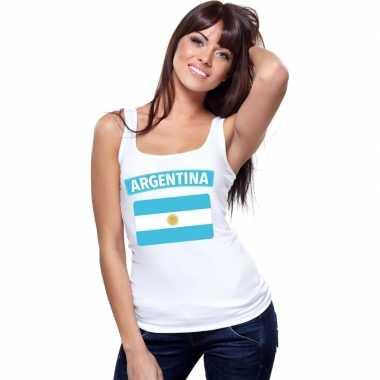 Argentinie vlag mouwloos shirt wit dames