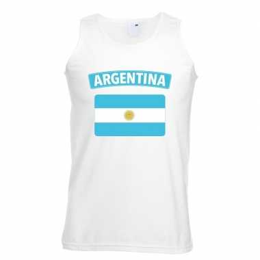 Argentinie vlag mouwloos shirt wit heren