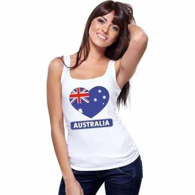 Australie hart vlag mouwloos shirt wit dames