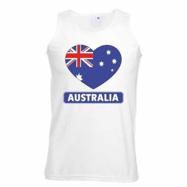 Australie hart vlag mouwloos shirt wit heren