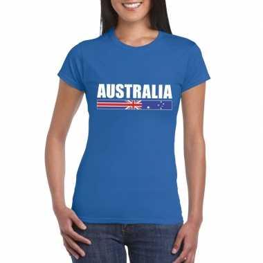 Australische supporter t shirt blauw dames