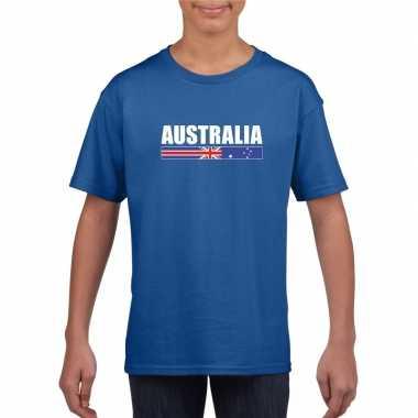 Australische supporter t shirt blauw kinderen