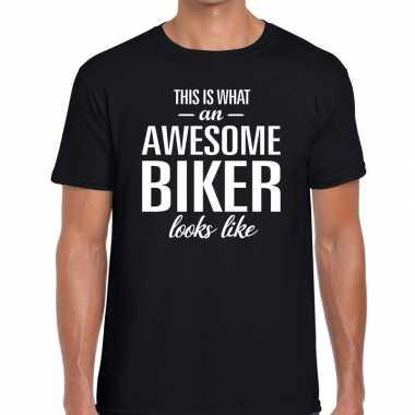 Awesome biker fun t shirt zwart heren bedankt cadeau een motor rijder