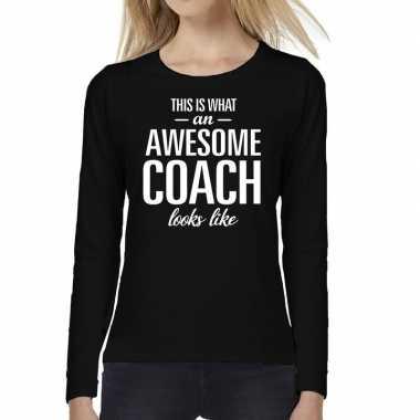 Awesome coach cadeau t shirt long sleeve zwart voor dames