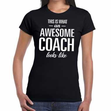 Awesome coach cadeau t shirt zwart dames coach bedankt cadeau