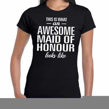 Awesome maid of honour kado t shirt zwart dames