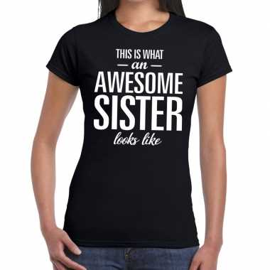 Awesome sister fun t shirt zwart dames