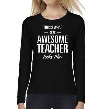 Awesome teacher cadeau t shirt long sleeve zwart voor dames