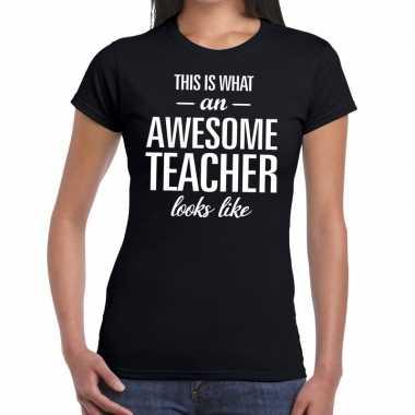 Awesome teacher fun t shirt zwart dames