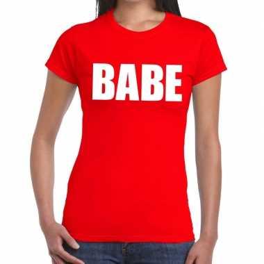 Babe fun t shirt rood dames